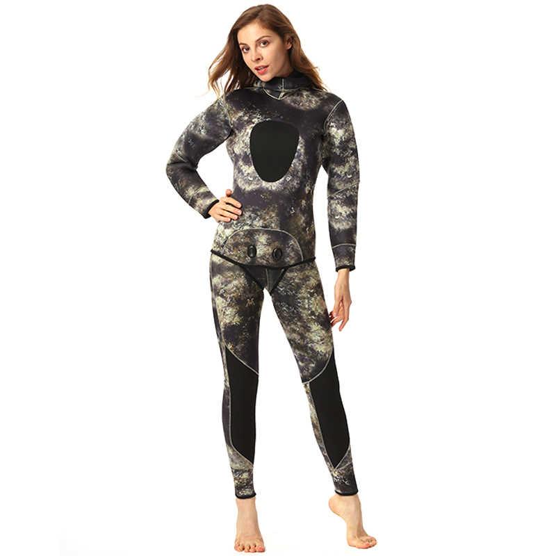 Неопреновый Мужской гидрокостюм 5 мм, камуфляжные гидрокостюмы для подводной рыбалки, комплект из 2 предметов для триатлона, толстый костюм для дайвинга, roupa de merguulho