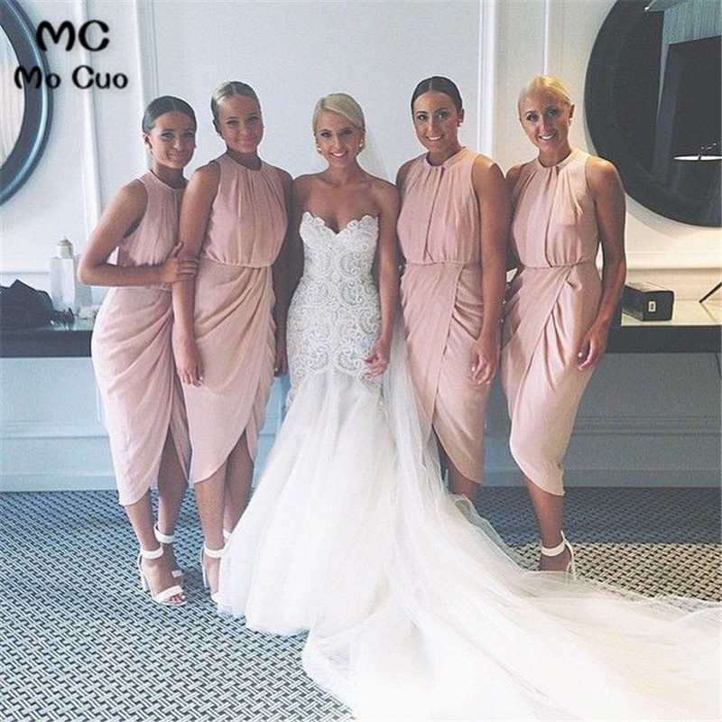 New 2018 New Arrival Bridesmaid Dresses Cheap Wedding Party Dresses Pleat Maid Of Honer Chiffon Pink Bridesmaid Dress For Women