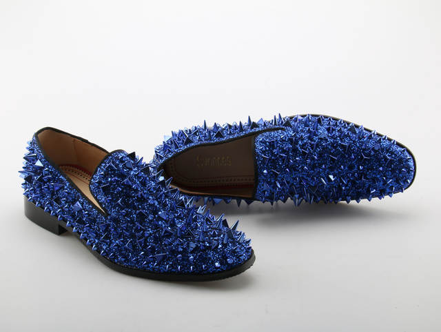 e97b9ae3a285 Online Shop Svonces Runway Fashion Top Quality Red Sole Men Shoes Blue  Sequin Spikes Men Loafers Rivets Casual Dress Shoes Men Flats Suede