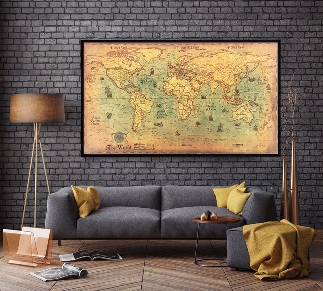 nostalgic Large Vintage Kraft Paper World Map Wall Poster Living ...