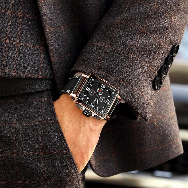สแควร์นาฬิกาผู้ชาย 2019 MEGIR แบรนด์หรูกีฬาชายนาฬิกา Mens Chronograph กันน้ำหนังสีดำนาฬิกาผู้ชาย 2018