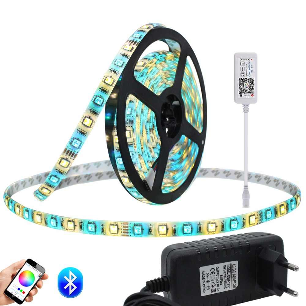 Набор светодиодных лент + контроллер Bluetooth RGB RGBW rgbww Светодиодная лента гибкая светодиодная лента 5 м/рулон с адаптером питания 12 В 3A
