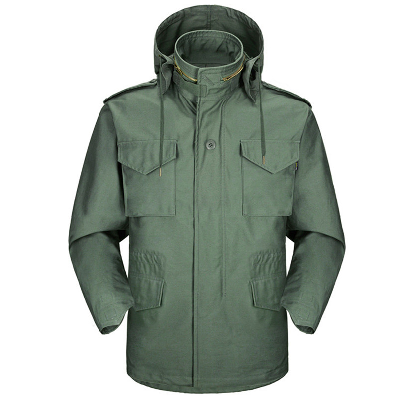 все цены на Autumn M65 Jungle Hooded Jacket Outdoor Hiking Hunting Detachable Liner Windbreaker Army Tactical Windproof Waterproof Coat