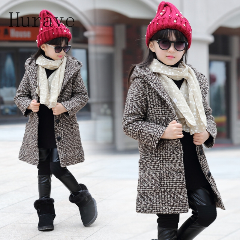 Hurave 2017 Girls coat jacket plaid print jackets for toddler kids clothes girl outwear autumn outwear thick winter недорого