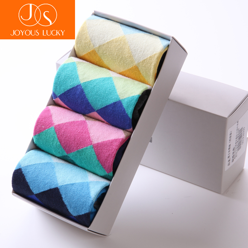JOYOUS LUCKY Tube Socks Men Breathable Absorbent Cotton Meias Tide Male Thick Priting Medium Harajuku Socks 4 pieces Gift