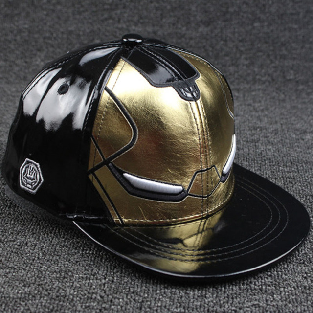 Fashion Cartoon Anime Super Hero Iron Man Parent-Child Baseball Caps Hip Hop Hats Sun Hat Outdoor Shade PU Cap Adult Children