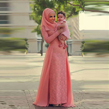 Muslim Trendy Lace Evening Dress with Chiffon Court Train Long Sleeve Straight Long Pleat Sash Coral Hijab Evening Dress