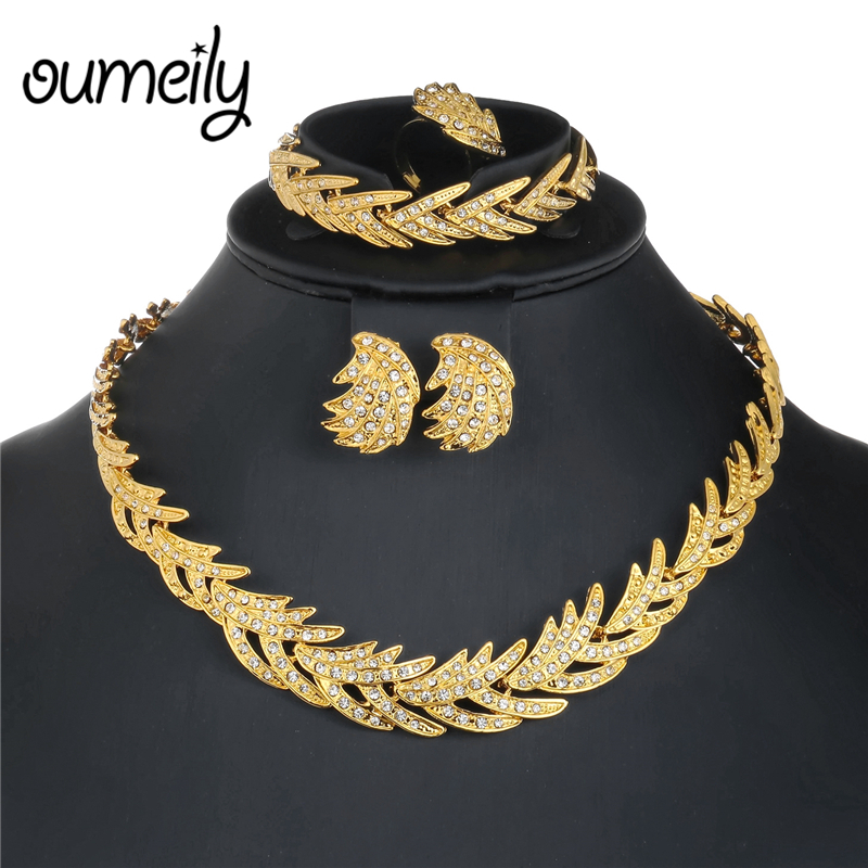 OUMEILY 2018 Nigerian Wedding Jewelry Set For Women African Dubai Silver Gold Color Indian Wedding Jewelry Sets Brides Jewellery