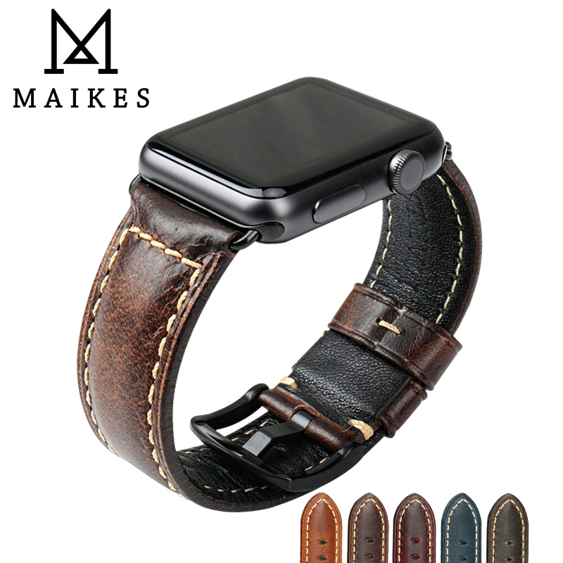 Watch Accessories For Apple Watch Band 42mm Greasedleather Watchband With Adapter for Apple Watch Strap 38mm iWatch Bracelet