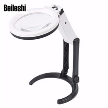 Beileshi Portable 10 LED Light Magnifier Magnifying Glass with Light Lens Table Desk-type Lamp Handheld Foldable Loupe 2x  5x