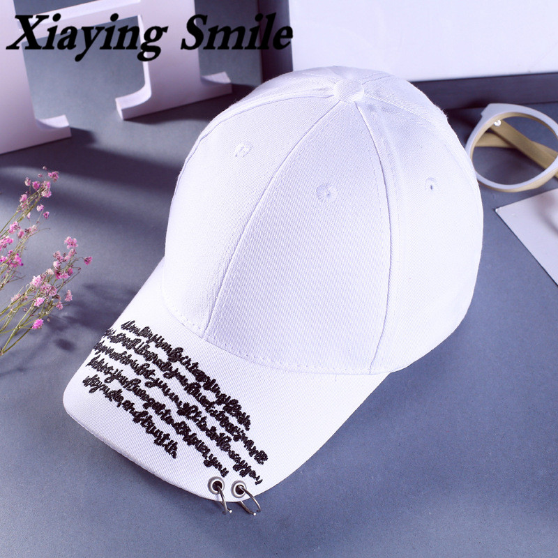 Xiaying Smile Fashion Snapback Adjustable Men Women's Baseball Cap Hip Hop Hat Metal Hoop Letter Embroidery Casual Snap Back Cap
