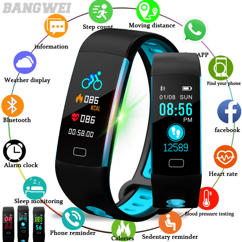 BANGWEI 2019 New Men Bluetooth Smart Watch Women Heart Rate Blood Pressure Monitor Fitness Tracker Pedometer Sport Smart Watch in Digital Watches from Watches