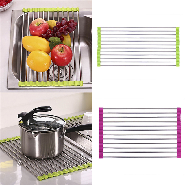 Functional Folding Kitchen Sink Roll Up Dish Rack Stainless Steel ...