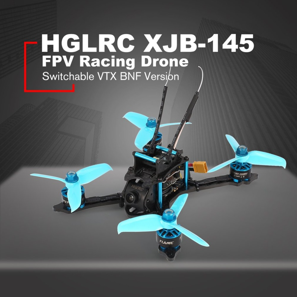 HGLRC XJB-145MM FPV Racing Drone with OSD Omnibus F4 28A 2-4S Blheli_S ESC 25/100/200/350mW Switchable VTX BNF VersionHGLRC XJB-145MM FPV Racing Drone with OSD Omnibus F4 28A 2-4S Blheli_S ESC 25/100/200/350mW Switchable VTX BNF Version