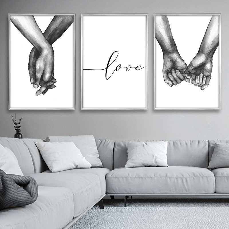 Nordic Posters Prints Holding Hands Canvas Painting Wall Art Black And White Decoration Wall Pictures For Living Room Love Quote