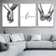 цена на Nordic Posters Prints Holding Hands Canvas Painting Wall Art Black And White Decoration Wall Pictures For Living Room Love Quote