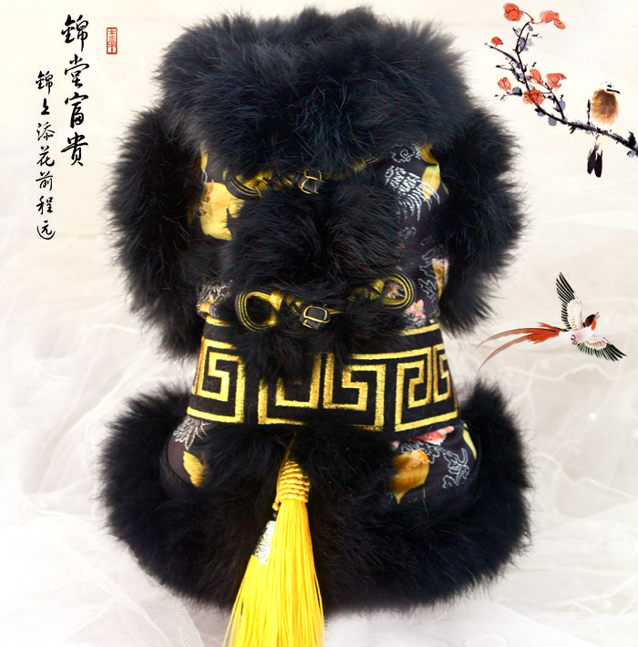 Free shipping high quality handmade Black hair domineering fur golden frog chinese style dog coat pet winter clothes