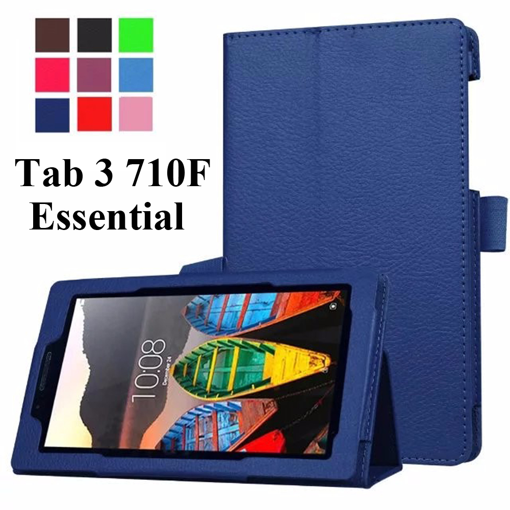 For Lenovo Tab 3 7.0 710F Tab3 7 Essential(710F) 7.0inch Tablet Premium Litchi Folio Stand Magnet PU Leather Cover Case