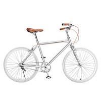 BicycleforMenWomen and Student Internet Celebrity and Retro Single speed 24 Inch High carbon Steel Silvery Concise