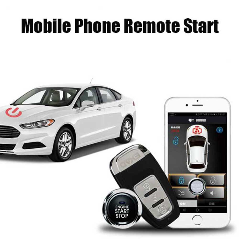 SmartPhone Remote Start  Keyless Entry Car Alarm System Security Passive Central Lock Compatiable Android/ISO PKE  Start Stop
