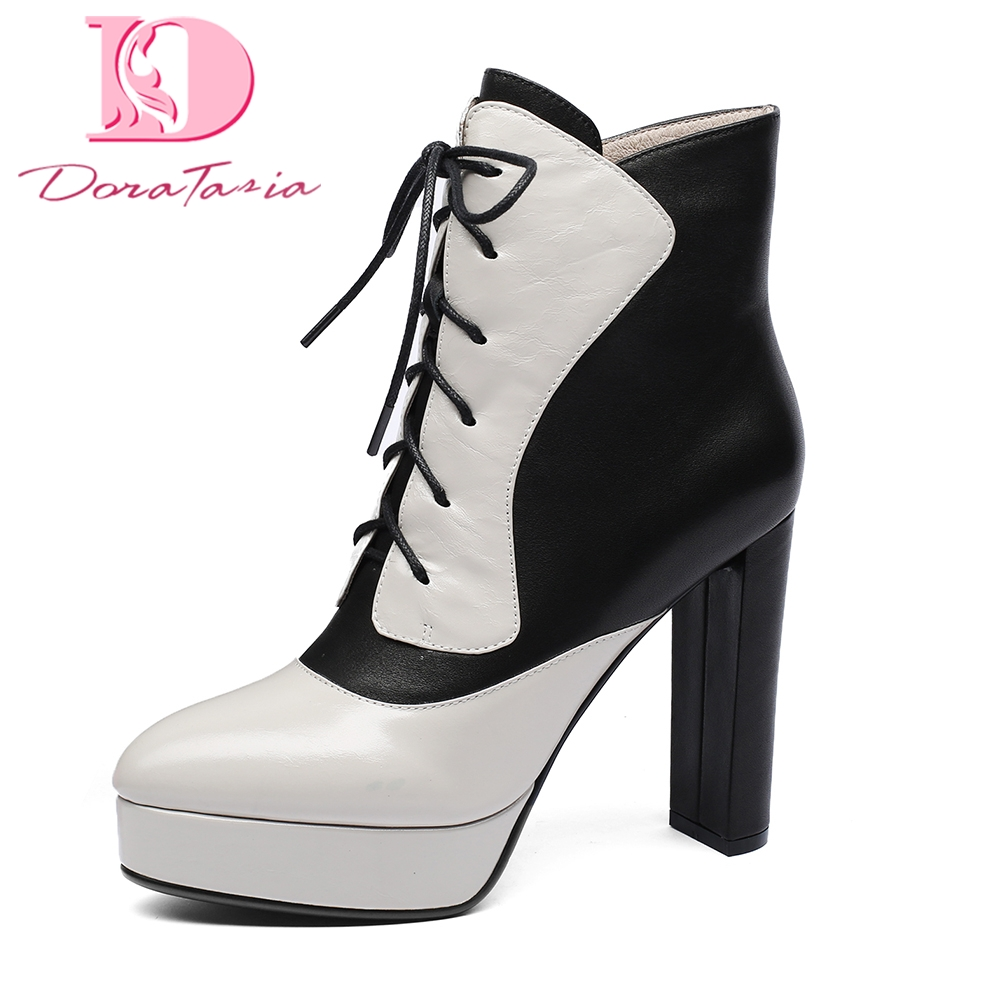 Doratasia New Cow Leather Platform Zip Up Ankle Boots Woman Shoes sexy high Heels women's Party Wedding Boots Shoes Women doratasia genuine leather zip up platform elegant ankle boots sexy thin high heels party wedding boots woman shoes women