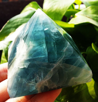 Natural quartz crystal healing fluorite pyramid