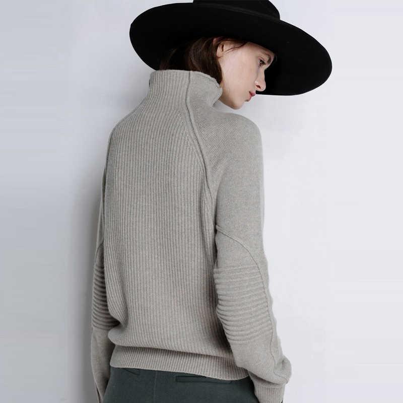 Otoño Invierno suéter de Cachemira de cuello alto Mujer suéter de punto grueso suelto perezoso lana suéter casual mujer pulóver