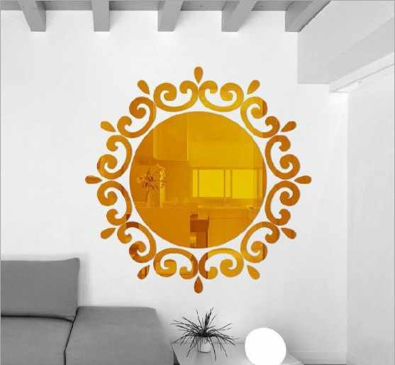 Hottest Room Acrylic Decal Art DIY Mirror Light Decor 3D Wall Sticker Home Decoration European Style 2019 New 2 Colours