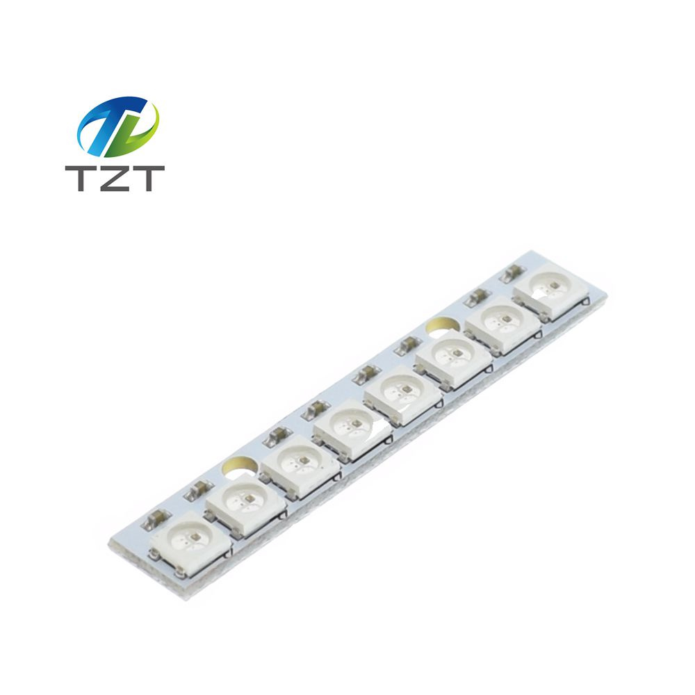 TZT teng 1pcs Stick 8 channel WS2812 5050 RGB LED lights built-in full color-driven development board