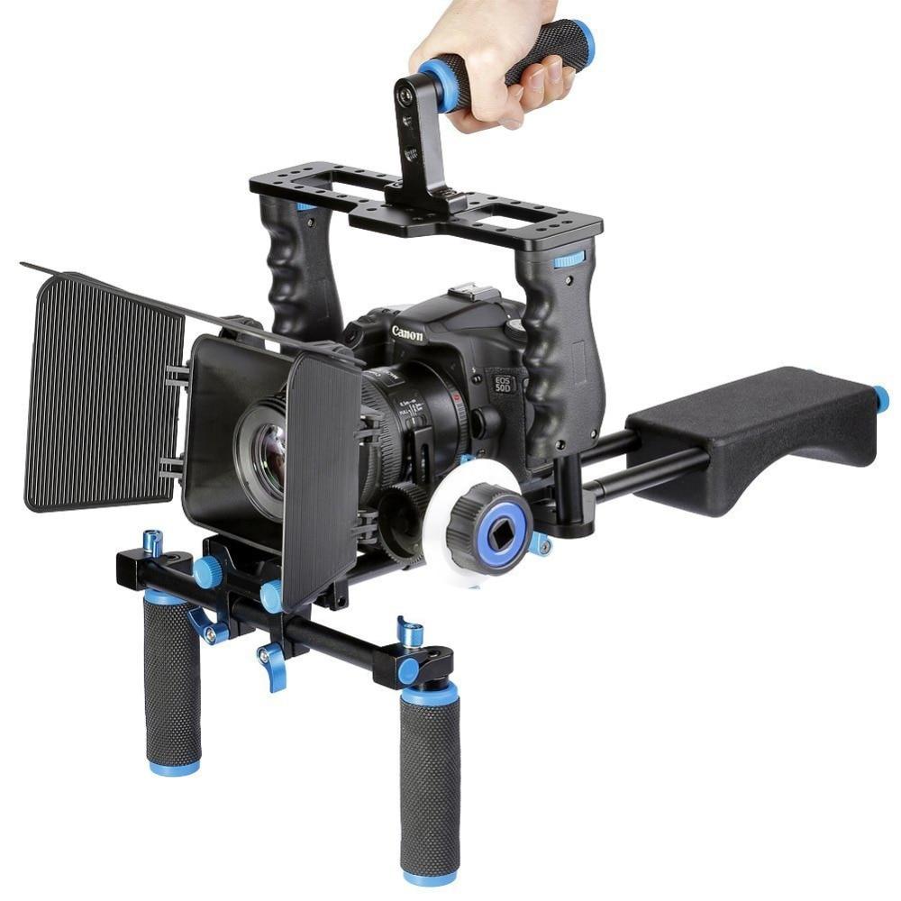 цена на DSLR Rig Video Stabilizer Shoulder Mount Rig+Matte Box+Follow Focus+Dslr Cage for Canon Nikon Sony DSLR Camera Video Camcorder