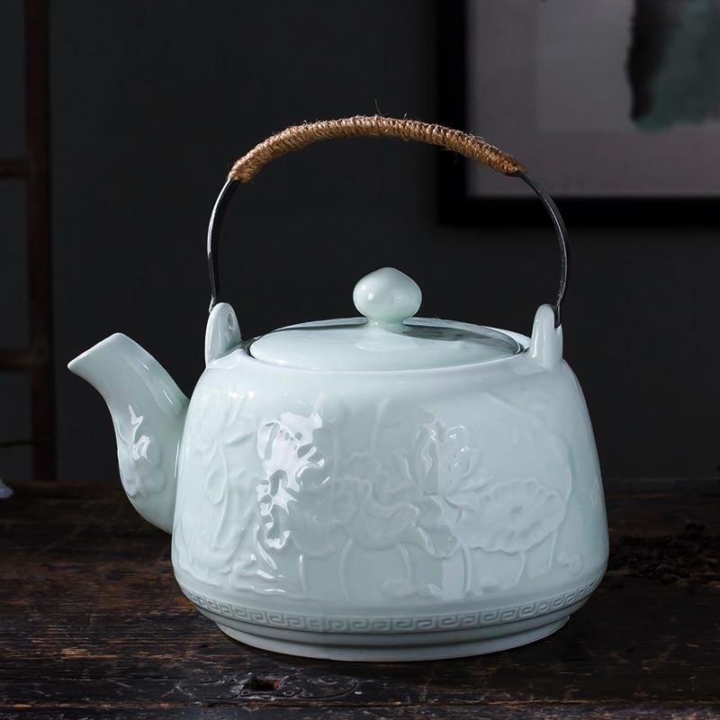 Jingdezhen théière en céramique grande capacité bouilloire froide cruche Celadon en relief poutres Pot maison boire théière 41