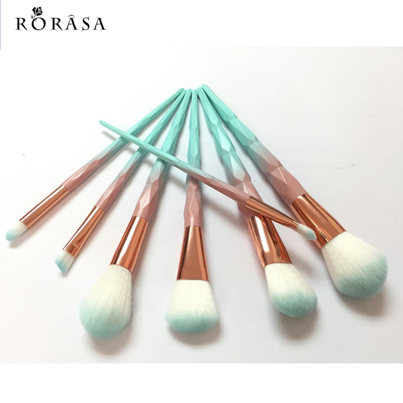 7pcs Diamond Makeup Brushes Set Macaron Color Facial Foundation Cosmetic Brush Kit Powder Blusher Eyeshadow Brush Make up Tool 12pcs makeup brush set wood handle facial mask foundation brushes cosmetic eyeshadow eyebrow make up brush kit makeup bag