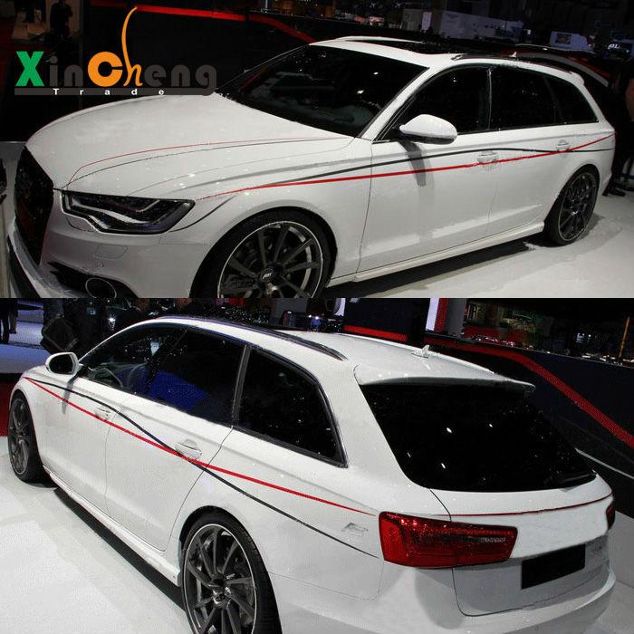 Voiture-stlying Boby Tirez Décoratifs Fleurs Guirlande Modifié Voiture Autocollants Rayé pour Audi A4L A6 Taille Autocollants