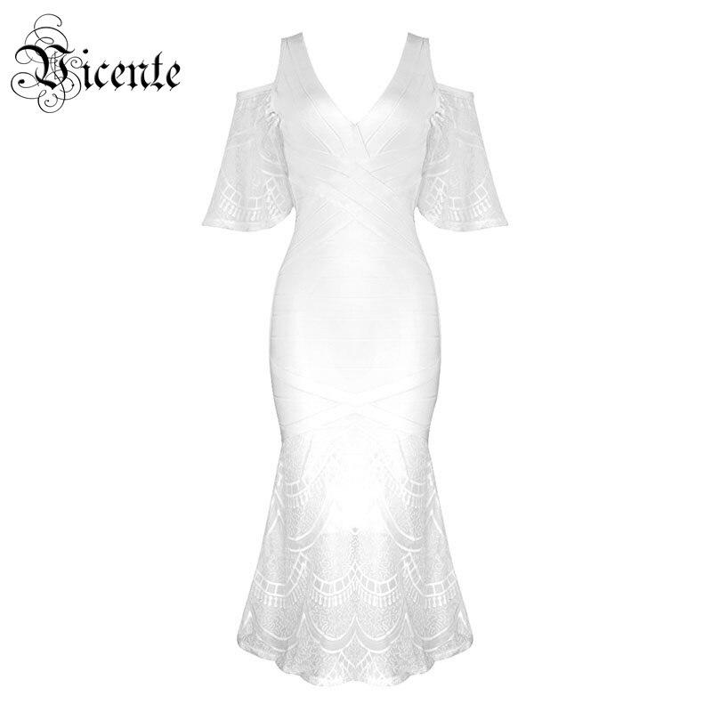 Здесь продается  Free Shipping! 2018 New Fashion Graceful White Lace Ruffles Sexy Off The Shoulder V-neck Wholesale Celebrity Midi Bandage Dress  Одежда и аксессуары