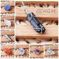 Natural DIY Gem Stones Clear Crystal Fluorite Necklaces&Pendants Healing Irregular Tourmaline Yellow Purple Pink Quartz Pendulum