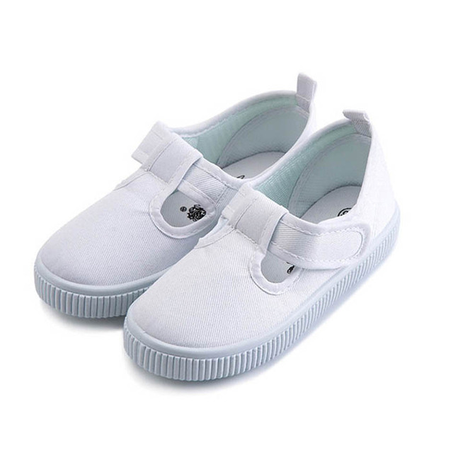 Vintage T Niños Niñas Correa de Lona Blancos Zapatos de Bebé Zapatillas de deporte de Deslizamiento en Los Niños de Lona Zapatos Casuales Blancos Zapatos de Bebé Primeros Caminante