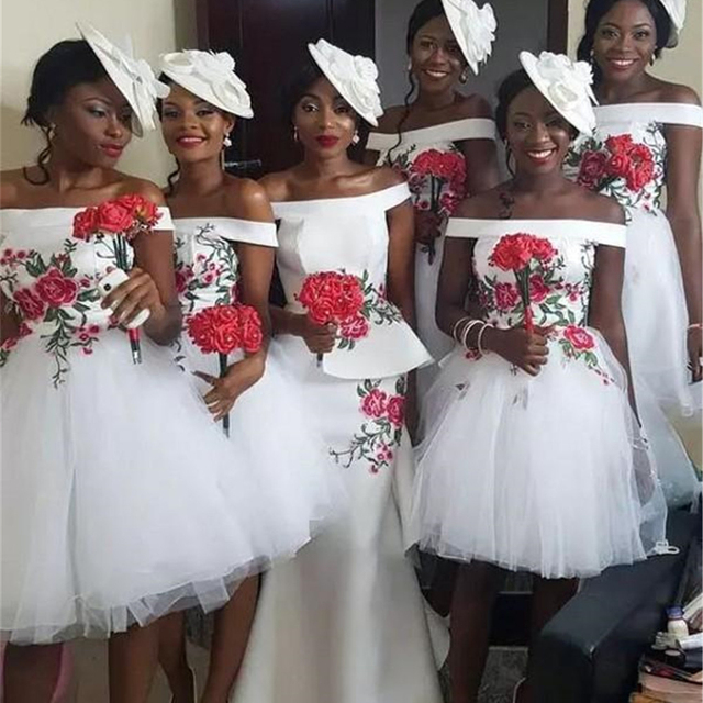Short White Bridesmaid Dresses 2019 Boat Neck Off The Shoulder Knee Length  Tulle Cheap African Wedding Guest Dress Custom Made 7ab920e0ffe5