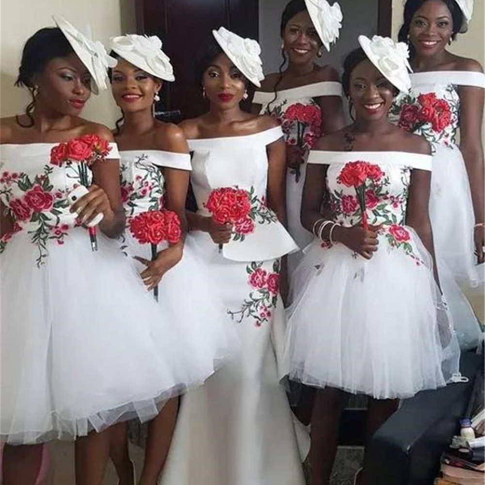 Short White   Bridesmaid     Dresses   2019 Boat Neck Off The Shoulder Knee Length Tulle Cheap African Wedding Guest   Dress   Custom Made