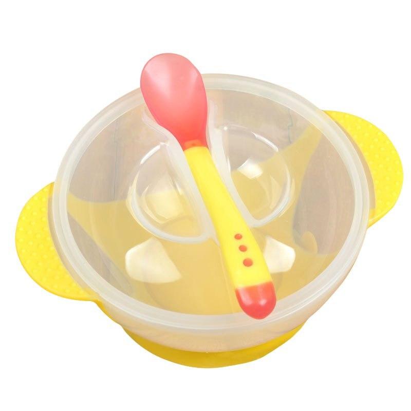 Toddler Baby Kids Feeding Baby Children Tableware Bowl Plate Training Spoon Binaural Lid With Sucker