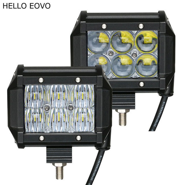 HELLO EOVO 2pcs 4 Inch 4D 5D LED Work Light Bar for Motorcycle Driving Offroad Boat Car Tractor Truck 4x4 SUV ATV 12V