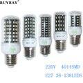 E27 LED 36 56 72 96 138leds Bombillas SMD4014 Lamp Light AC 220V 4014 Corn Bulb Christmas Chandelier Lights & Lighting