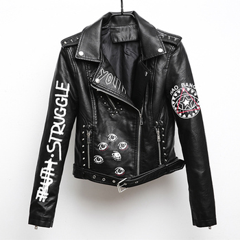 leather jacket women fashion  faux leather jackets women PU leather motorcycle lapel Slim female short letters printed jacket