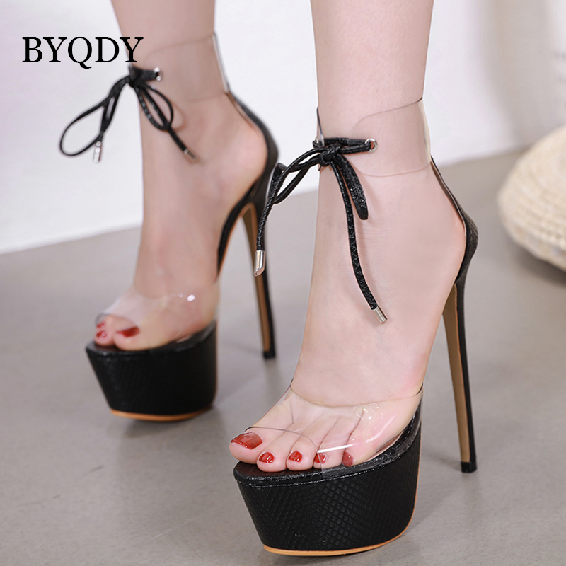 BYQDY Sexy Ultra High Heels Women Sandals Open Toe Gladiator Casual Lace Up Platform Size 35-40