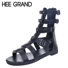 HEE GRAND Brand Fashion New Summer Gladiator Sandals Woman Flat With Shoes Buckle Frework Boots XWZ4202