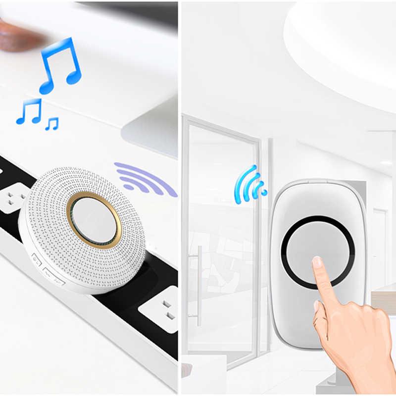 Универсальный беспроводной дверной звонок со штепсельной вилкой США, 433 МГц, РЧ, Внутренний дверной звонок для пульта дистанционного управления с функцией экстренного вызова, пульт дистанционного управления, домашний комплект