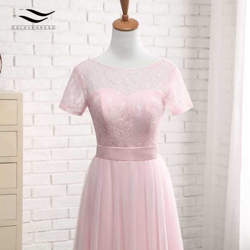 Solovedress Elegant Short Sleeves Cheap A Line Pink Tulle Bridesmaid Dress 2017 Lace With Sash vestido de festa longo SLD-PGE027 9