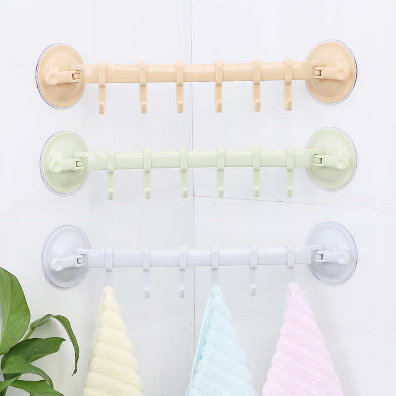 1PC Adjustable Hook Rack Double Suction Cup Towel Rack Hanging Shelves Hook Holder Lock Type Sucker Kitchen Bathroom Accessories