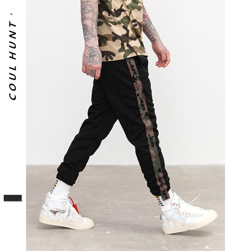 2019 New Mens Side Stripe Camouflage Track Pants Men Retro Elastic Waist Drawstring Sweatpants Black Track Sweatpants S-XXL