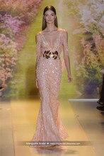 2017 Zuhair Murad Design Abendkleid Luxus Perlen Ärmellose Tüll V-ausschnitt Kleider Cocktail Party Robe De MariageMY1227-14