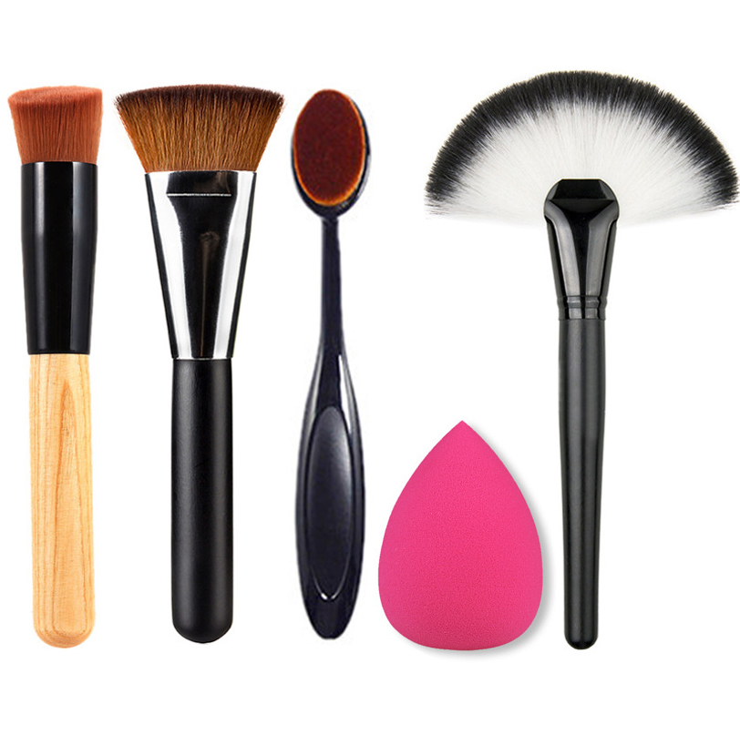 Professional Make Up Tool Kits Synthetic Hair Powder Blush Brush Soft Makeup Puff Toothbrush Oval 5pcs